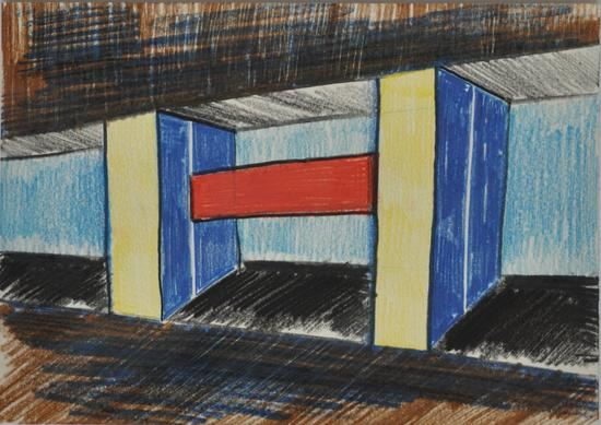 "Artists, Otto Lehmann, , 2010. Colored pencil on paper, 21 x 29,7 cm., ""Bilder einer Reise im Kopf"" 2011"
